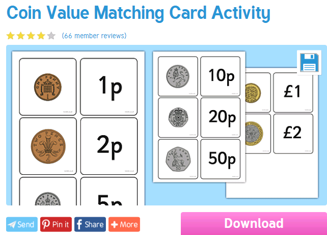 Worksheet Wednesday Coin Matching Life Skills Numeracy