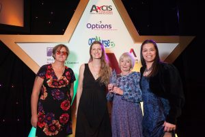 Axcis Awrd for Individual Acheivement of an Education Professional winner: Sharon Coles from STARS (Middle right, sponsor Emily Marbaix middle left). NAS Award Ceremony, Harrogate 2017.